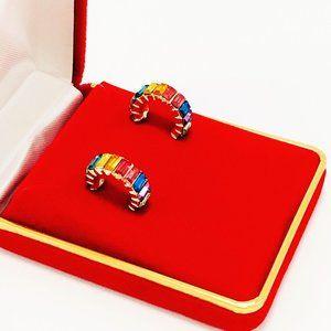Bauble Bar Rainbow Mini Hoop Earrings